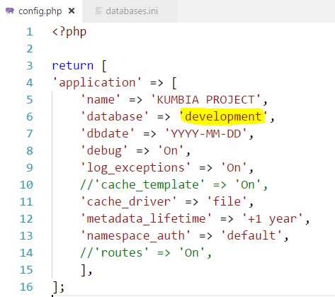 Archivo config.php de KumbiaPHP