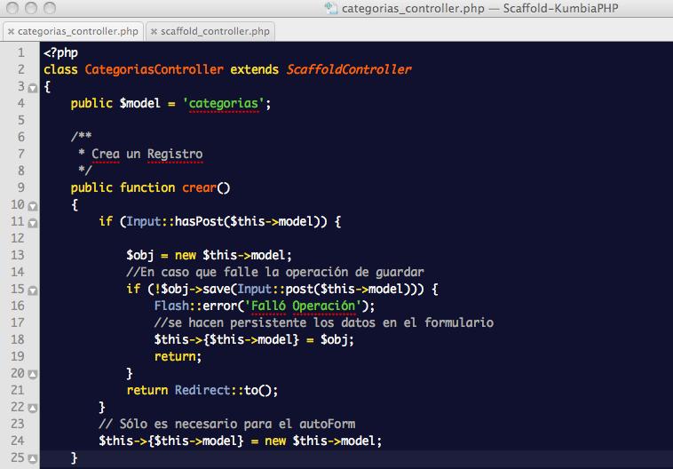 ScaffoldController: Controlador Categorías con reemplazo del método Crear