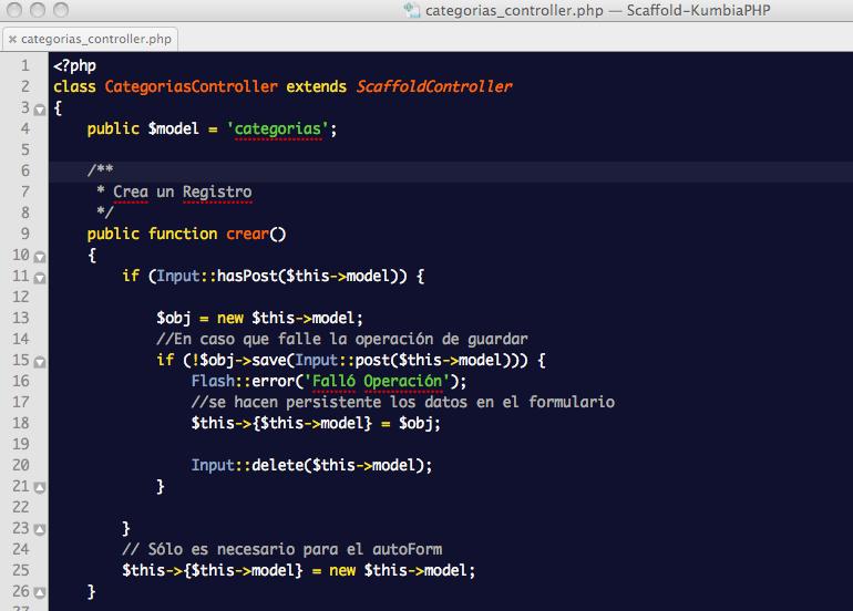 ScaffoldController: Controlador de Categorías con eliminación de redirección predeterminada