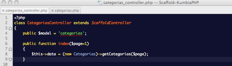 ScaffoldController: Reemplazo del método index en el Controlador de Categorías para usar el nuevo método getCategorias desde el modelo