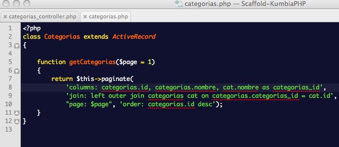 ScaffoldController: Actualización del método que carga los registros de la tabla de categorías para incluir la categoría padre con su nombre