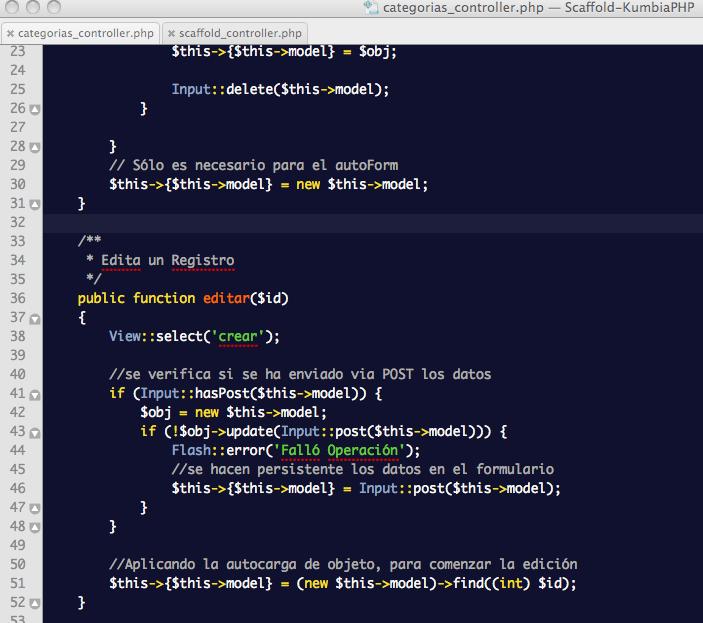 ScaffoldController: Controlador de Categorías con eliminación de redirección en el método editar