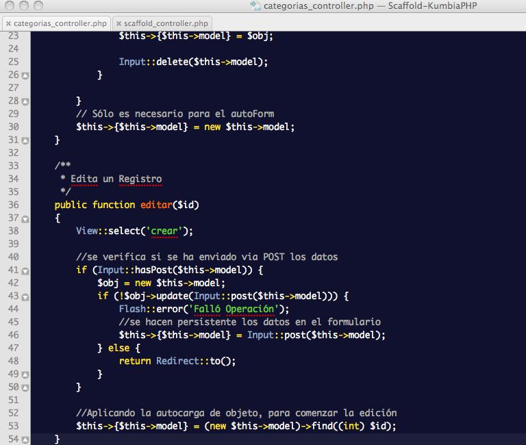 ScaffoldController: Controlador de Categorías con reemplazo del método editar