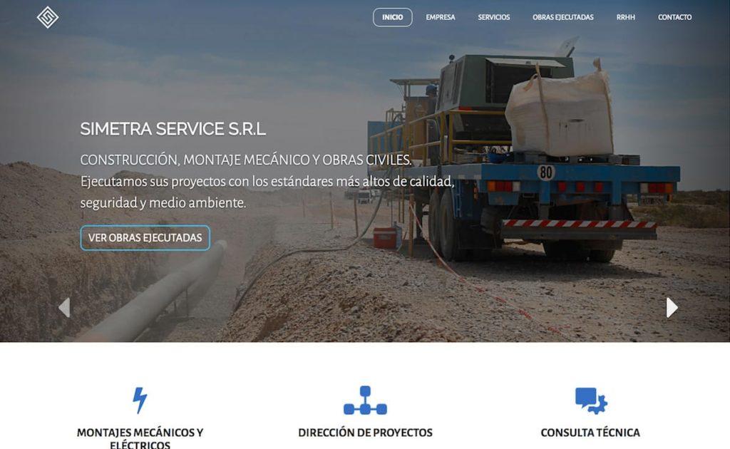 Home page del sitio web de Simetra Service SRL hecho con KumbiaPHP