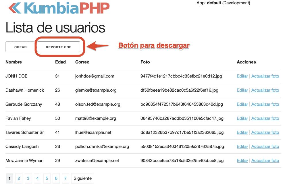 """Enlace """"Reporte PDF"""" en el listado de usuarios."""