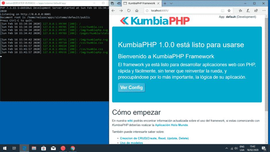 Servidor php desde consola linux en windows